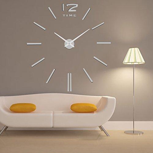 Lifeup orologio da parete grandi argento adesivi murali - Decorazioni muri interni ...