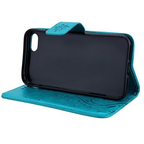 SMART LEGEND iPhone 7 Lederhülle Schmetterling Weinstock Premium Schutzhülle Wallet Case Grau Muster Design Etui Brieftasche Ledertasche mit Handschlaufe Neu Zubehör im Bookstyle Cover Schale mit Stän Blau