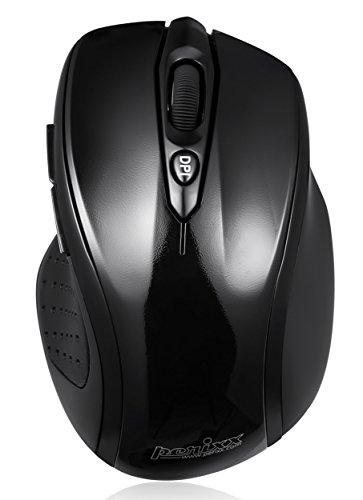 Perixx PERIMICE-711, Mouse ergonomico wireless - 2.4G - Nano Receiver - 1000/1600 DPI Risoluzione ottica - Piano Finitura Design - 2xAAA Marca Batterie