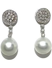 0fff7bc59068 Pendientes de diamantes de 0.49cts y perlas australianas de 11.5mm en oro  blanco de