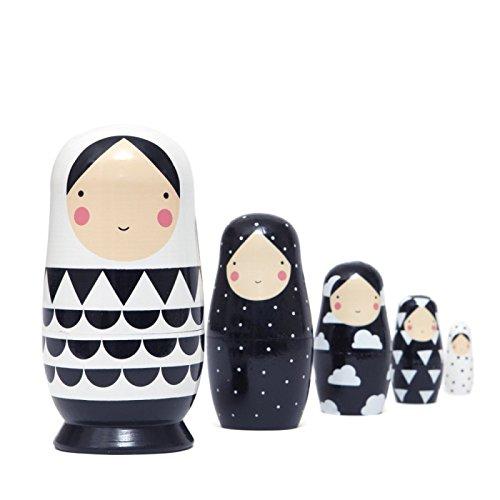 Muñecas rusas Matroschka–negro & blanco