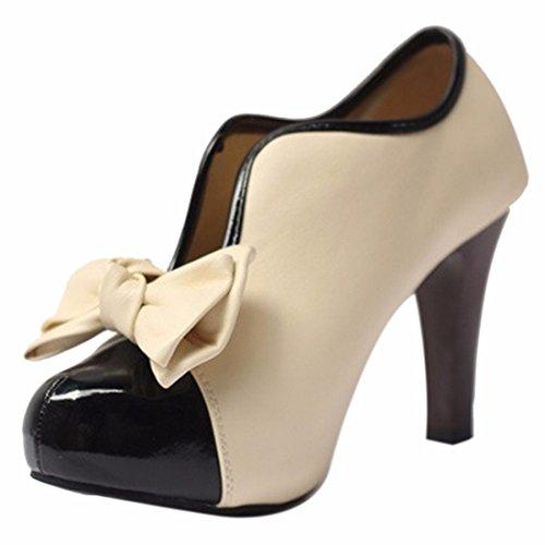 QIYUN.Z Femmes Style Vintage Bowknot Filles De Charme Haut Talon Bloc D'Abricot Pompe Chaussure