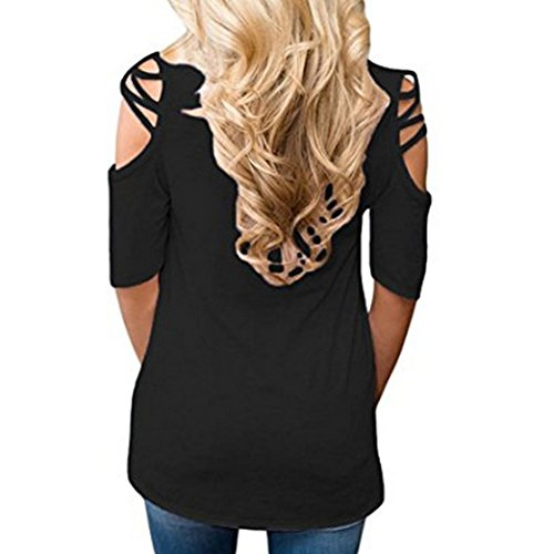 Yeesea Damen Schulterfrei Oberteil Loose Kurzarm Hemd Top Cold Shoulder Cut Out Bluse T-shirt Schwarz