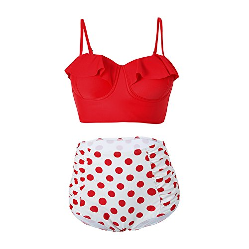 FeelinGirl Damen Retro Badeanzug Bademode Bikini Set hohe Teillen