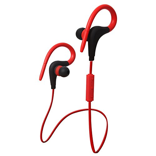 YAKOO Wireless Bluetooth 4.2 Earphone (Built-In Microphone) Is Suitable For Sports Business Fitness Travel, Headphones Compatible With Any Smart Device.,Gules Headset Kopfhörer
