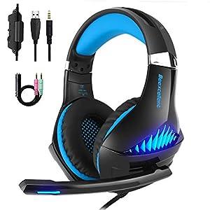 Gaming Kopfhörer LANSRAYOL Gaming Headset mit Mikrofon LED-Beleuchtung für PC, Xbox One, Nintendo Switch, PlayStation 4…