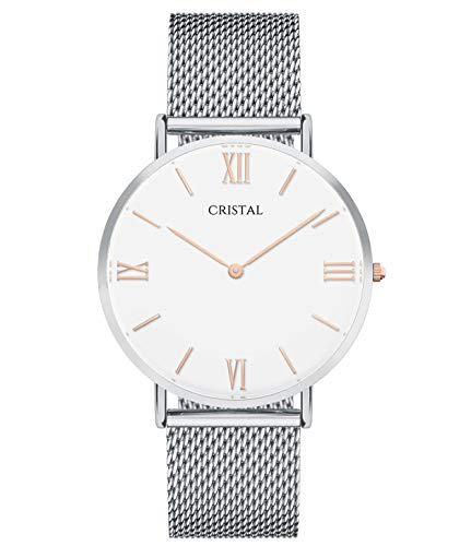 Montre Cristal Argent et Or Rose - Cadran Blanc - Bracelet milanais Argent (Argent et Or Rose/Blanc)