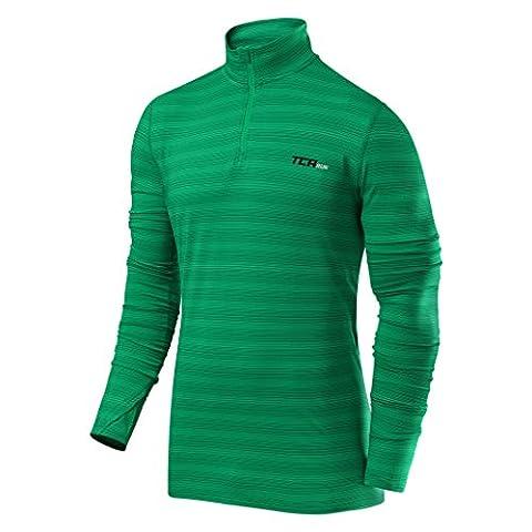 TCA Infinity - Herren Langarmshirt mit Reißverschluss - Running & Fitness - Waldgrün, M