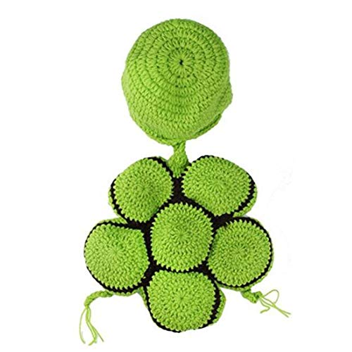 YaptheS Baby-Neugeborene Jungen-Mädchen-Schildkröte Crochet Kostüm Schildkröte Crochet Baumwollknit Kostüm Foto Props Grün Caring für Ihr (Baby Schildkröte Kostüm Crochet)