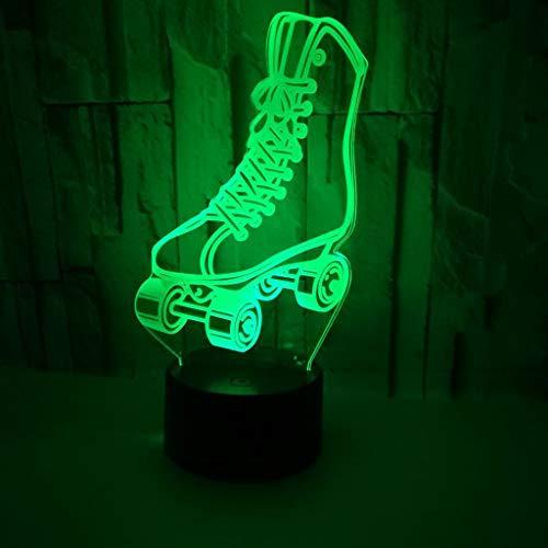 8212a826909 Lampe Roller Skate 3D Night Light Illumination Optique Panneau Acrylique  Seven Colours Abs Base USB Data