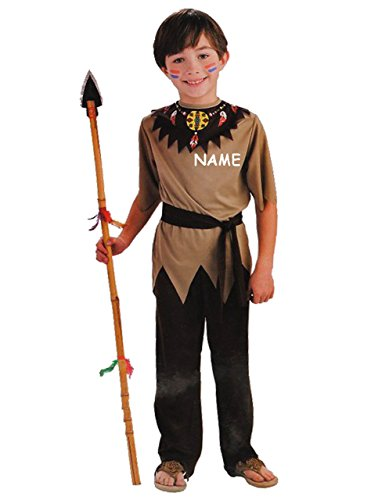 alles-meine.de GmbH 3 TLG. Kostüm -  Indianer  - incl. Name - 6 bis 9 Jahre - Gr. 128 - 140 - Karneval - Fasching + Halloween / Hose + Shirt / Pullover + Gürtel - Kinderkostüm ..