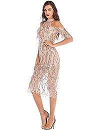 8d4038f605 Amazon.es  vestido lentejuelas - Naranja   Vestidos   Mujer  Ropa