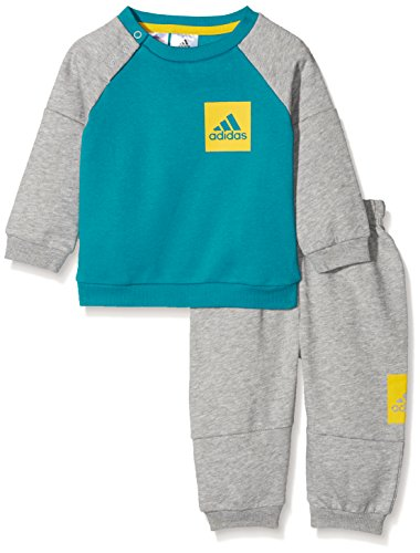 adidas Kinder Badge of Sport Fleece Jogginganzug Trainingsanzug, Myspet/Eqtyel, 74