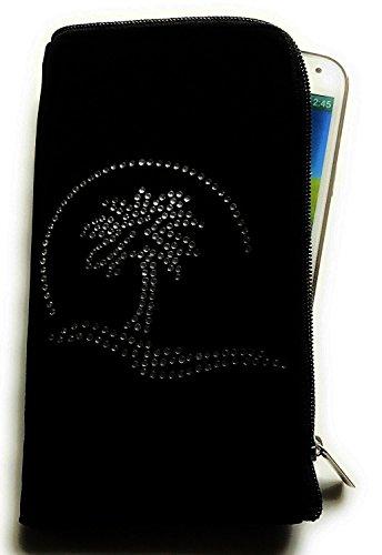 Reissverschluss Handytasche Softcase schwarz mit Strass Motiv Hund-2 geeignet für Apple Iphone X - Handy Schutz Hülle Slim Case Cover Etui Tasche Handgelenktasche Holiday