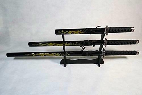 Set mit 3 goldenen Drachen Katana Samurai Schwertern auf dem Stand - 100cm