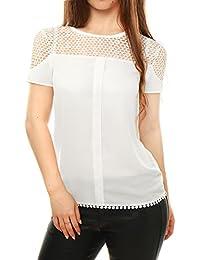 Allegra K Women's Short Sleeves Semi Sheer Center Pleated Guipure Lace Top