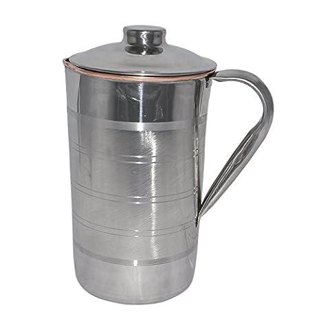 RoyaltyRoute cuivre eau cruche pichet avec couvercle Drinkware santé ayurvédique profite à 1700 ML
