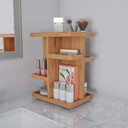 Lavish Home Makeup Organizer - Rotating Eco-Friendly Compact Modern Bamboo Skincare Cosmetic and Vanity Carousel for Bedroom, Bathroom, or Dorm -