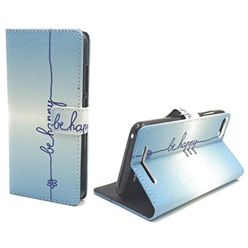 Handy Tasche Book Style Rahmen Flip Cover Case Schutz Hülle Etui Motiv Wallet, Für Handy:Apple iPhone 6 / 6s (4.7 Zoll), Motiv:MITTELFINGER Be Happy Blau