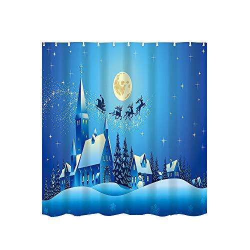 Christmas Waterproof Shower Curtain Printing Bathroom Shower Curtain And 12 Hook