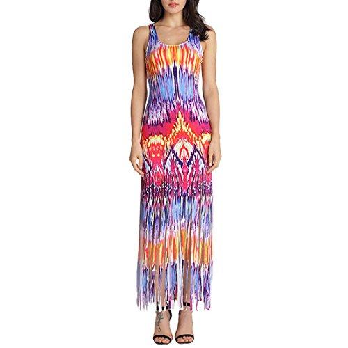 QIYUN.Z Frauen Beiläufige Bunte Gedruckte Troddelspitzen Sleeveless Sundress Strand Langes Kleid Flammendruck