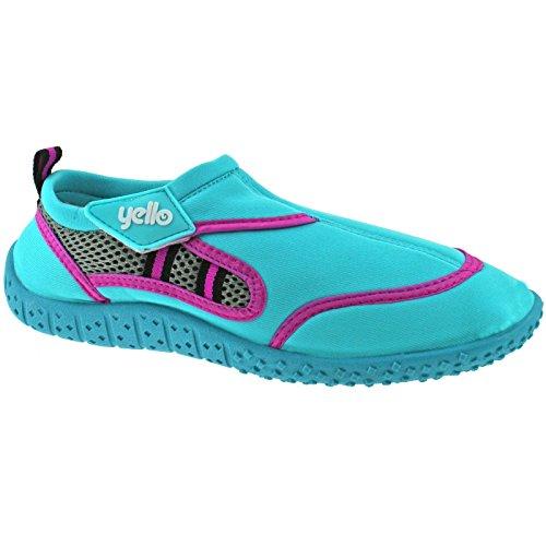 Damen Yello Berry FW923 Aqua Socks Strandschuhe, Größe 36 - 41,Pink/Blau/Lila Blau