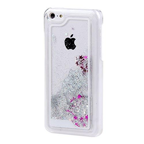 Etche Schutzhülle für iPhone 5C Hülle, iPhone 5C Fließen Flüssig Tasche, Schwimmend Stern Case für iPhone 5C, Klar Transparent Dynamisch Shiny Glanz Sparkle Sterne Wasser Schmetterling Mädchen Blumen  Silber