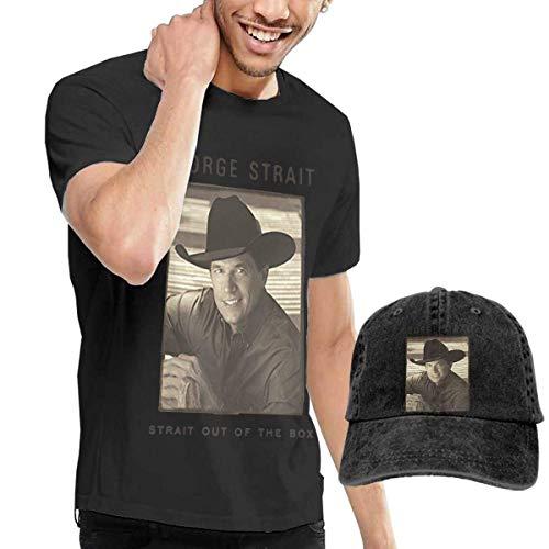 Thimd Herren T-Shirt und Kappe Schwarz, George Strait Strait Out The Box T Shirt Washed Denim Baseball Dad Caps Black -