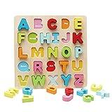 Holzpuzzle Pädagogisches Spielzeug Steckpuzzle für Kinder Kleinkind Holzbrett Lernspielzeug für Junge Mädchen Steckspiel Holzspielzeug Kinderspielzeug für Geschenk Früherziehung Großbuchstaben Puzzle