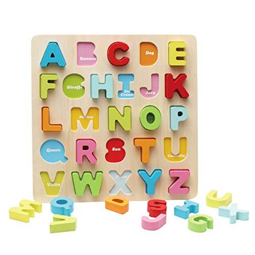 (Holzpuzzle Pädagogisches Spielzeug Steckpuzzle für Kinder Kleinkind Holzbrett Lernspielzeug für Junge Mädchen Steckspiel Holzspielzeug Kinderspielzeug für Geschenk Früherziehung Großbuchstaben Puzzle)