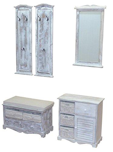 XMC Massivholz-Garderoben-Set 4teilig in weiß gewischt