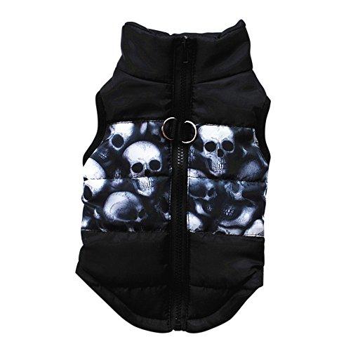 Etopfashion Veste pour chien ,Manteau harnais Avec imprimé crânien pour petit chien/chat Vêtement d'hiver rembourré