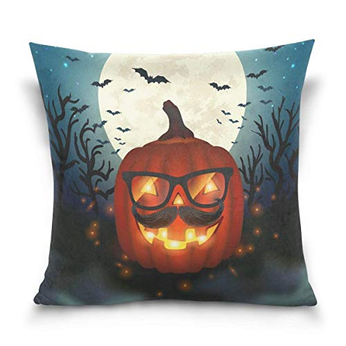 But why miss Throw Pillow Case Decorative Cushion Cover Square Pillowcase, Halloween Hipster Pumpkin Full Moon Bat Tree Sofa Bed Pillow Case Cover(18x18inch) Twin Sides
