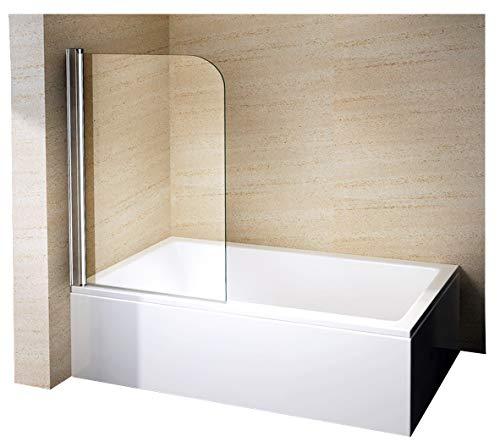 Bernstein Badshop Duschabtrennung Duschwand Spritzschutz Badewanne 6 mm Nano Badewannenaufsatz Badewannenaufsatz EX201-80 x 140 cm (Badewanne Für Spritzschutz)