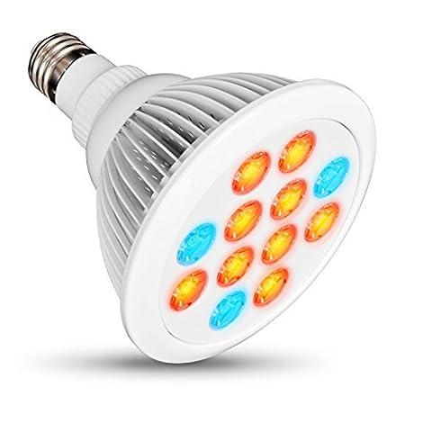chenci 12LED Pflanzen Grow Leuchtmittel–24W E27(3blau LED & 9rot LED) Hydrokultur Lampe für Blume Pflanzen (Media Base Spot)