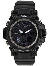 Fashion Now Sylvi Men's Analog-Digital Multi Function Black Dial Sports Watch (Sylvi_Black)