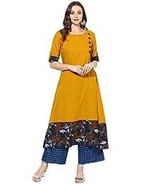 Varanga Women's Mustard Cotton Printed Kurta With Striped Palazzo