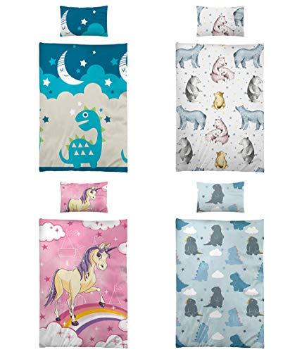 Niceprice Kinder Baby Bettwäsche Baumwolle, viele lustige und schöne Motive, 2tlg. 100x135cm 40x60cm, Baby Dino