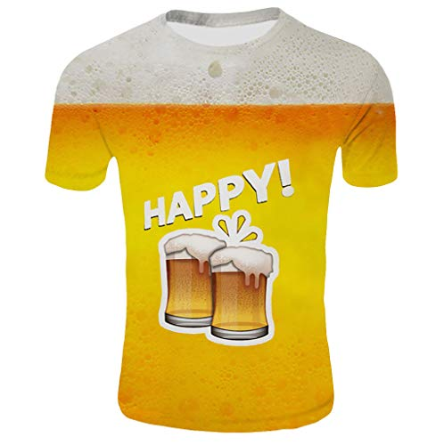 Cuteelf Herren Oktoberfest Tops New 7D Print Kurzarm Comfort Shirt Top Herren Oktoberfest Print Kurzarm T-Shirt Happy Oktoberfest Essentials Bequem Cool Atmungsaktiv