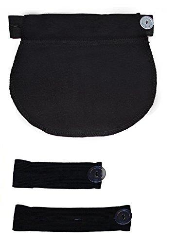 Mija – Set of 3: Maternity Pregnancy waistband adjustable elastic waist extenders with Panel 1028 (Black)