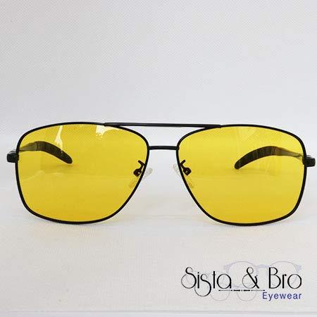 Brille für Nachtsicht - gelbe polarisierende Gläser gegen Blendung - Gestell in Pilotenform aus schwarzem Metall - für Herren und Damen - UV-Filter, 100% polarisiert, reflektierend