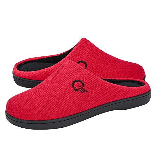 Mishansha Zapatillas de Estar por casa para Mujer Invierno Ultraligero cómodo y Antideslizante,Mujer Rojo 40/41 EU