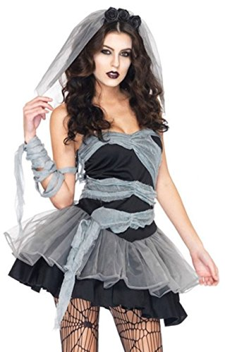 Bride Corpse Kostüme (Aimerfeel-Sexy weiblichen Corpse Bride Cosplay Kleid durchführen Kostüme Halloween Dekoration Halloween und Lust auf Party Kostüm, Zombie Halloween Fancy Dress, Größe 34-36)