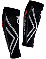 VeloChampion Calentadores de pantorrilla de compresion Negros (Black Medium) Compression Calf Sleeves