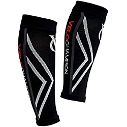 VeloChampion Calentadores de pantorrilla de compresion Negros (Black Large) Compression Calf Sleeves