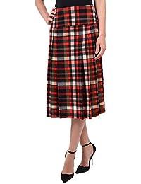 QED - Jupe femme à Motif Écossais clair - Longueur moyenne - Polyester & élasthanne - Rouge