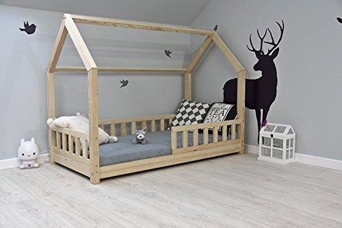 Best For Kids Kinderbett Kinderhaus mit Rausfallschutz Jugendbett Natur Haus Holz Bett mit oder ohne 10 cm Matratze in 8 Größen (90x190 cm mit Matratze)