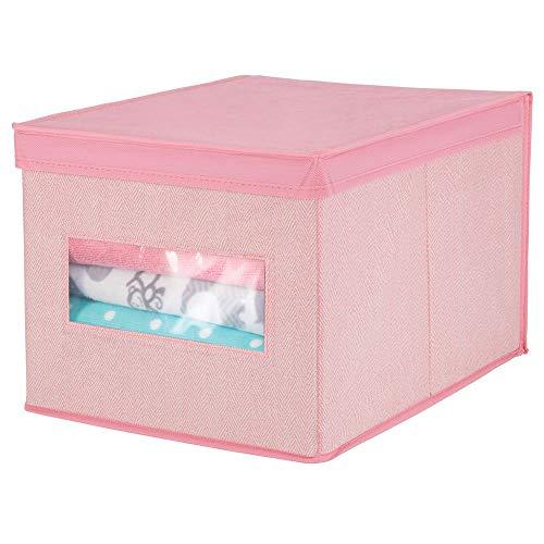 mDesign boîte de rangement empilable en fibre synthétique pour dressing, chambre à coucher, etc. - grande caisse de rangement avec couvercle et fenêtre pour conserver des vêtements - rose