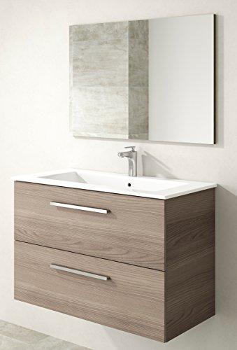 Miroytengo Mueble baño lavabo suspendido con espejo 2 cajones color fresno soft close 80x45x57 cm mobiliario aseo fabricado en España NO INCLUYE LAVAMANOS