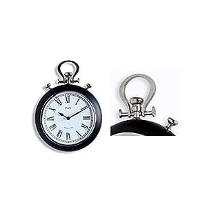 Orium 11628 Horloge Belém Métal/Verre Noir Laqué  Diamètre 25 cm